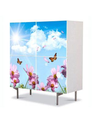 Comoda cu 4 Usi Art Work Flori Fluturi si flori de primavara, 84 x 84 cm
