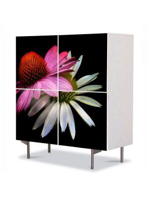 Comoda cu 4 Usi Art Work Flori Flori stilizate, 84 x 84 cm