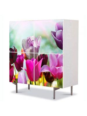 Comoda cu 4 Usi Art Work Flori Lalele Violet, 84 x 84 cm