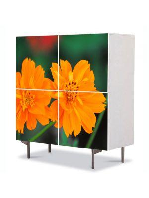 Comoda cu 4 Usi Art Work Flori Flori cu tente portocalii, 84 x 84 cm