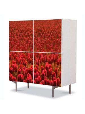 Comoda cu 4 Usi Art Work Flori Lalele rosii Scarlet, 84 x 84 cm