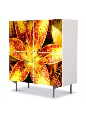 Comoda cu 4 Usi Art Work Flori Liliac asiatic, 84 x 84 cm
