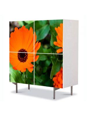 Comoda cu 4 Usi Art Work Flori Flori portocalii, 84 x 84 cm