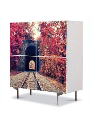 Comoda cu 4 Usi Art Work Peisaje Cale ferata, 84 x 84 cm