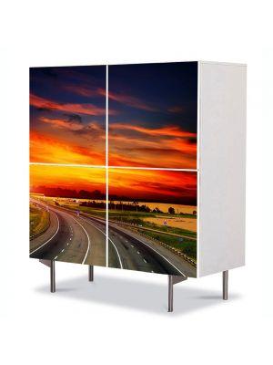 Comoda cu 4 Usi Art Work Peisaje Sosea spre apus, 84 x 84 cm