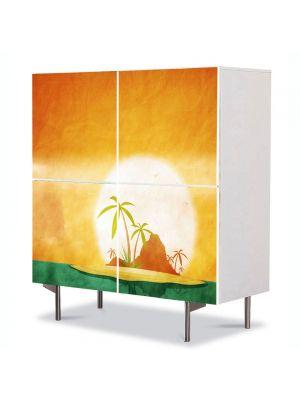 Comoda cu 4 Usi Art Work Peisaje Insule tropicale, 84 x 84 cm