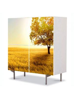 Comoda cu 4 Usi Art Work Peisaje Copac in umbra, 84 x 84 cm