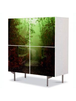 Comoda cu 4 Usi Art Work Peisaje Pod de lemn, 84 x 84 cm