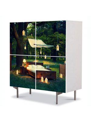 Comoda cu 4 Usi Art Work Peisaje Seara romantica in padure, 84 x 84 cm