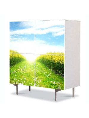 Comoda cu 4 Usi Art Work Peisaje Peste lan, 84 x 84 cm