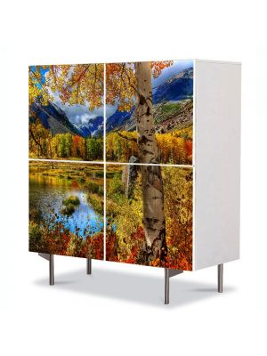 Comoda cu 4 Usi Art Work Peisaje Toamna la munte, 84 x 84 cm