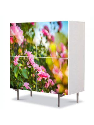 Comoda cu 4 Usi Art Work Peisaje Trandafiri roz, 84 x 84 cm