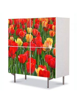 Comoda cu 4 Usi Art Work Peisaje Lalele rosii si galbene, 84 x 84 cm