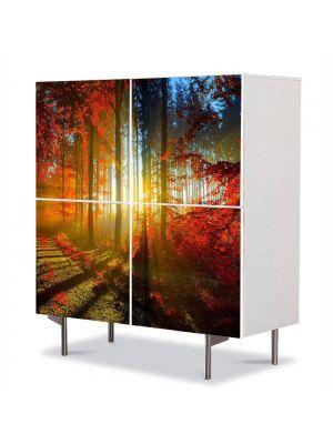 Comoda cu 4 Usi Art Work Peisaje Lumina printre copaci, 84 x 84 cm