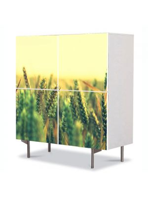 Comoda cu 4 Usi Art Work Peisaje Grau verde, 84 x 84 cm