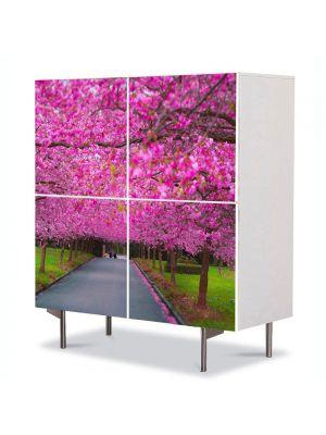 Comoda cu 4 Usi Art Work Peisaje Ciresi japonezi infloriti, 84 x 84 cm