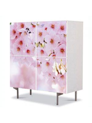 Comoda cu 4 Usi Art Work Peisaje Buchet de flori roz, 84 x 84 cm