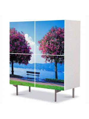 Comoda cu 4 Usi Art Work Peisaje Doi Copaci si o banca, 84 x 84 cm