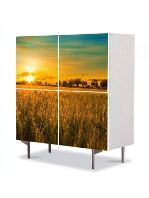 Comoda cu 4 Usi Art Work Peisaje Apus in lanul de grau, 84 x 84 cm