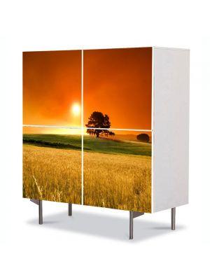 Comoda cu 4 Usi Art Work Peisaje In lanul de secara, 84 x 84 cm