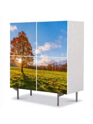 Comoda cu 4 Usi Art Work Peisaje Dupa copac, 84 x 84 cm
