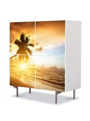 Comoda cu 4 Usi Art Work Peisaje Palmieri pe plaja, 84 x 84 cm