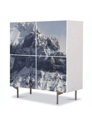 Comoda cu 4 Usi Art Work Peisaje Creste de munti, 84 x 84 cm