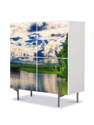 Comoda cu 4 Usi Art Work Peisaje Oglinda, 84 x 84 cm