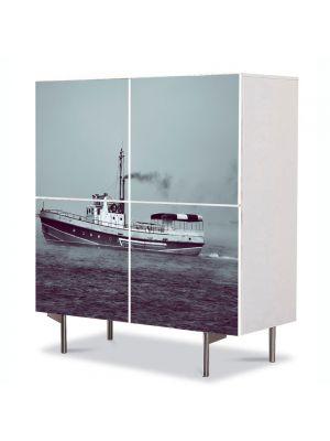 Comoda cu 4 Usi Art Work Peisaje Barca, 84 x 84 cm