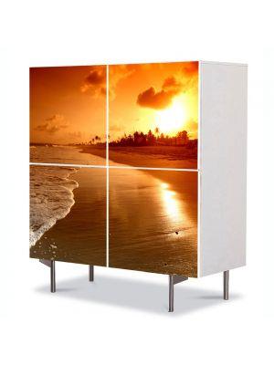 Comoda cu 4 Usi Art Work Peisaje Plaja la apus, 84 x 84 cm