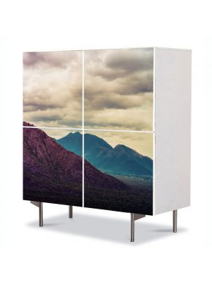 Comoda cu 4 Usi Art Work Peisaje Violet, 84 x 84 cm