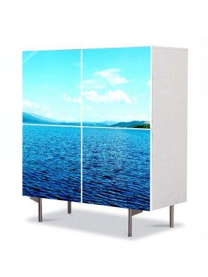 Comoda cu 4 Usi Art Work Peisaje Lac infinit, 84 x 84 cm