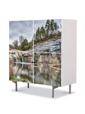 Comoda cu 4 Usi Art Work Peisaje Cascada in lac, 84 x 84 cm