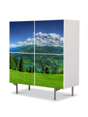 Comoda cu 4 Usi Art Work Peisaje Campie de munte, 84 x 84 cm