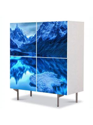 Comoda cu 4 Usi Art Work Peisaje Albastru in oglinda, 84 x 84 cm