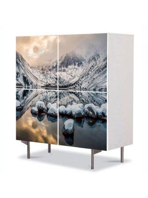 Comoda cu 4 Usi Art Work Peisaje Zapada si oglinda, 84 x 84 cm