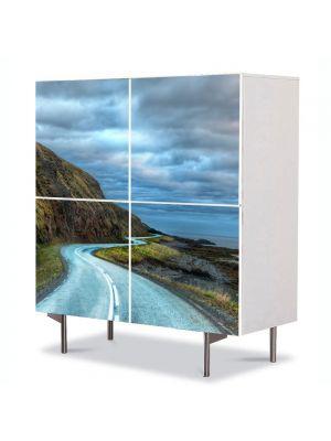 Comoda cu 4 Usi Art Work Peisaje Drum serpuit, 84 x 84 cm