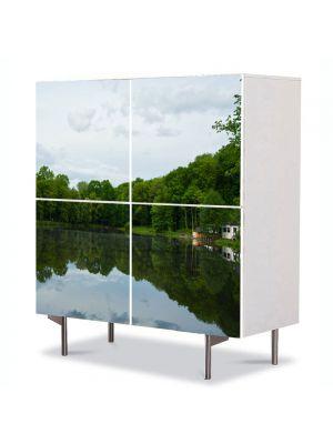 Comoda cu 4 Usi Art Work Peisaje Liniste pe lac, 84 x 84 cm