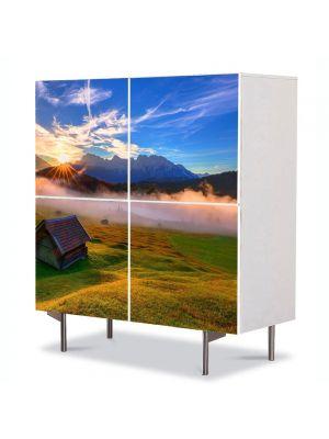 Comoda cu 4 Usi Art Work Peisaje Cabana de lemn, 84 x 84 cm