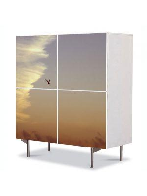 Comoda cu 4 Usi Art Work Peisaje Pasare in zbor, 84 x 84 cm