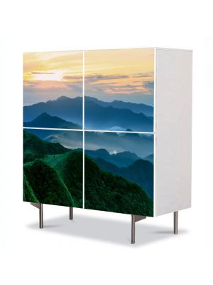 Comoda cu 4 Usi Art Work Peisaje Munti verzi, 84 x 84 cm