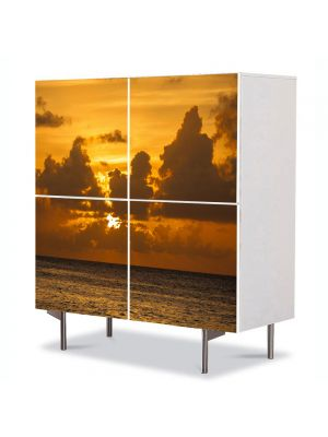 Comoda cu 4 Usi Art Work Peisaje La apus, 84 x 84 cm