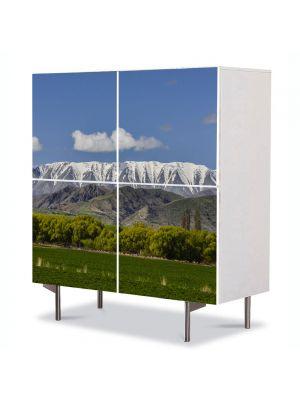 Comoda cu 4 Usi Art Work Peisaje Creasta muntilor, 84 x 84 cm
