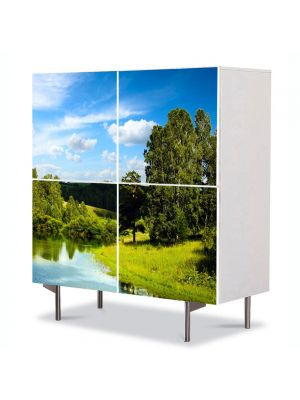 Comoda cu 4 Usi Art Work Peisaje Lac si padure, 84 x 84 cm