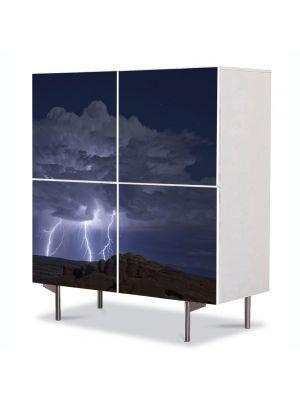 Comoda cu 4 Usi Art Work Peisaje Fulgere, 84 x 84 cm
