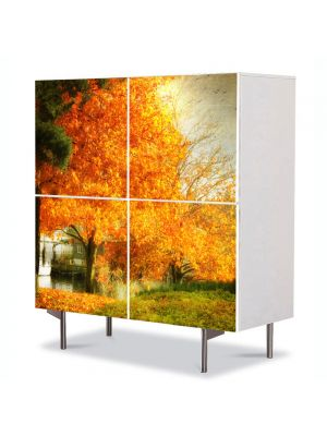 Comoda cu 4 Usi Art Work Peisaje Copac galben, 84 x 84 cm