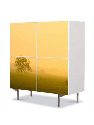 Comoda cu 4 Usi Art Work Peisaje Ceata la apus, 84 x 84 cm