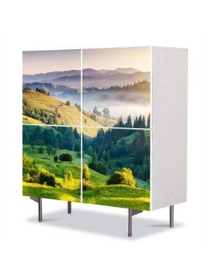 Comoda cu 4 Usi Art Work Peisaje Depresiuni, 84 x 84 cm