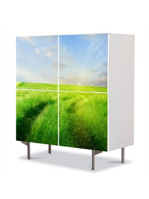 Comoda cu 4 Usi Art Work Peisaje Carare verde, 84 x 84 cm