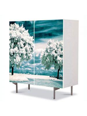 Comoda cu 4 Usi Art Work Peisaje Copaci albi, 84 x 84 cm